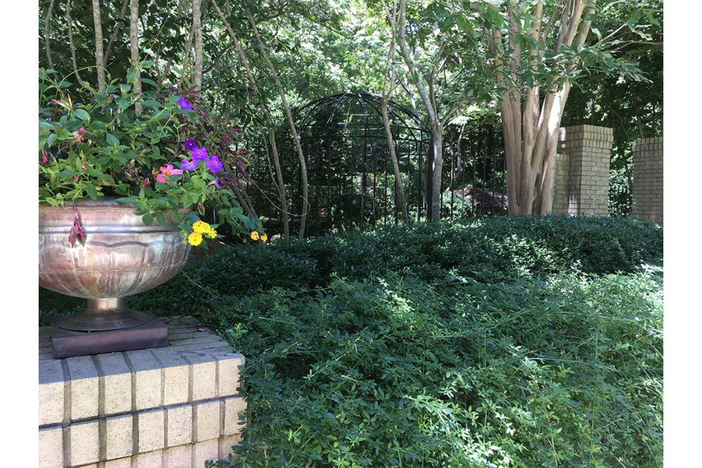 Private Garden with Radius Walls, Brick Columns, Wrought Iron Fencing, and Domed Trellis